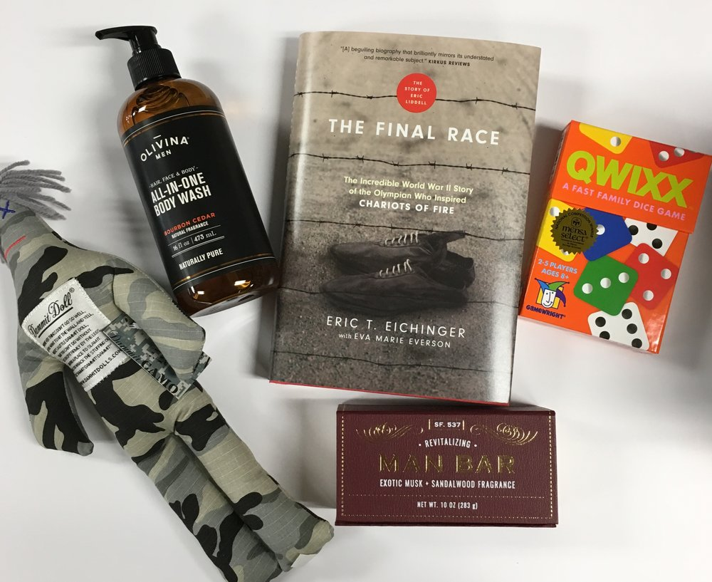 For guys: Dammit Doll ($15.95); Body Wash ($17.50); The Final Race ($22.99); Qwixx ($12.75); Man Bar ($6.99)