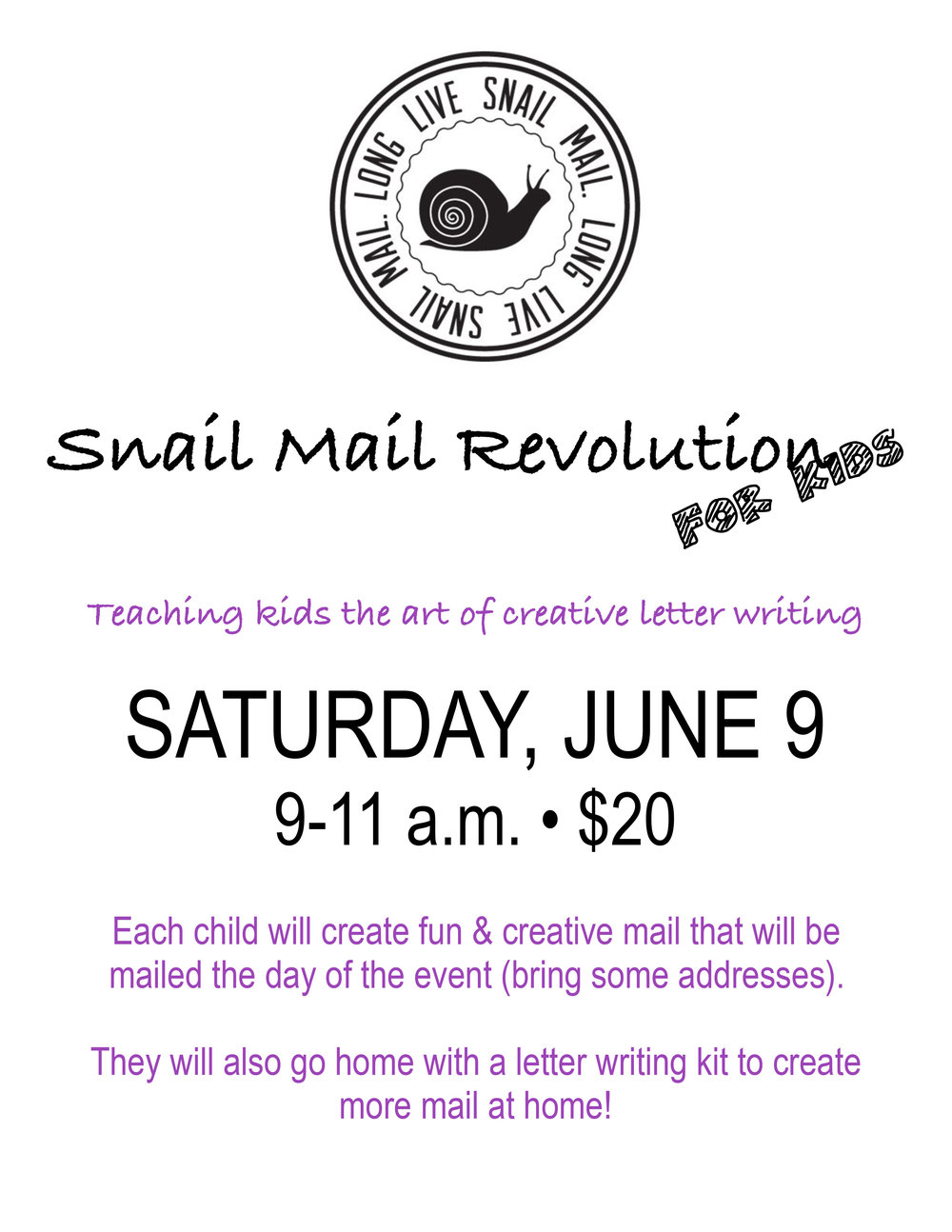 Snail Mail for kids June 18