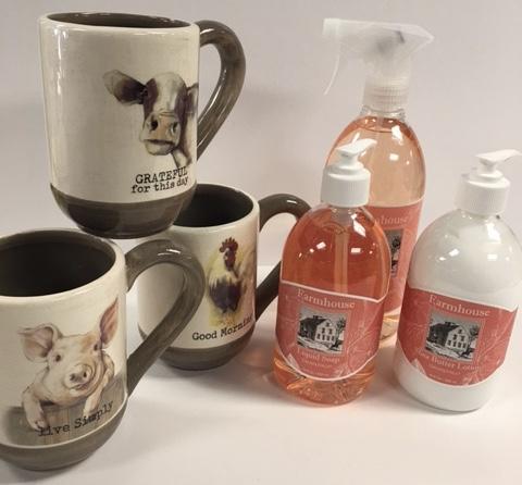 Farm themed mugs and Farmhouse soap, lotion and all-purpose spray