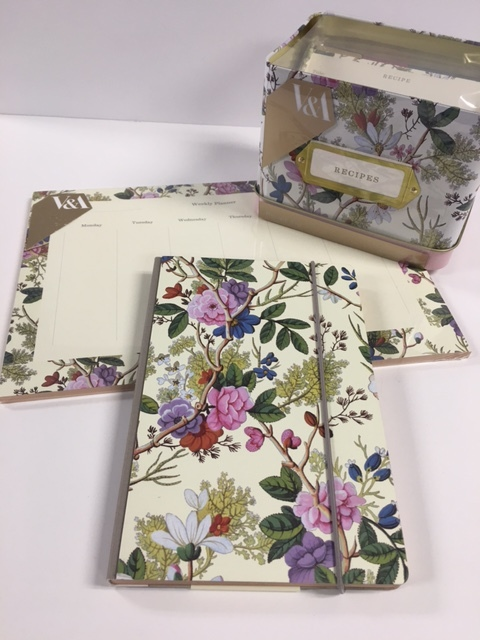 Beautiful matching journal, recipe box and weekly planner pad