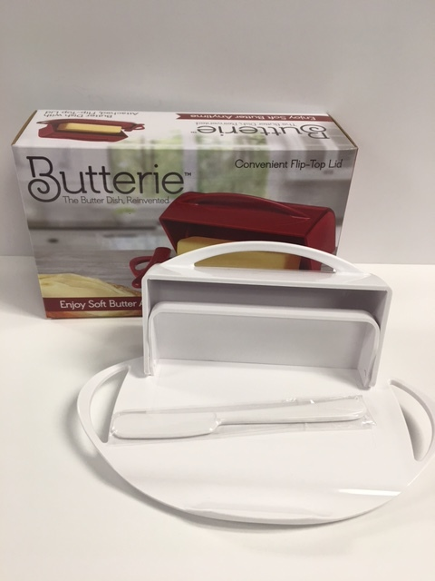 A fun new butter dish, meant to be left on the counter that is easy to clean and keeps your butter soft