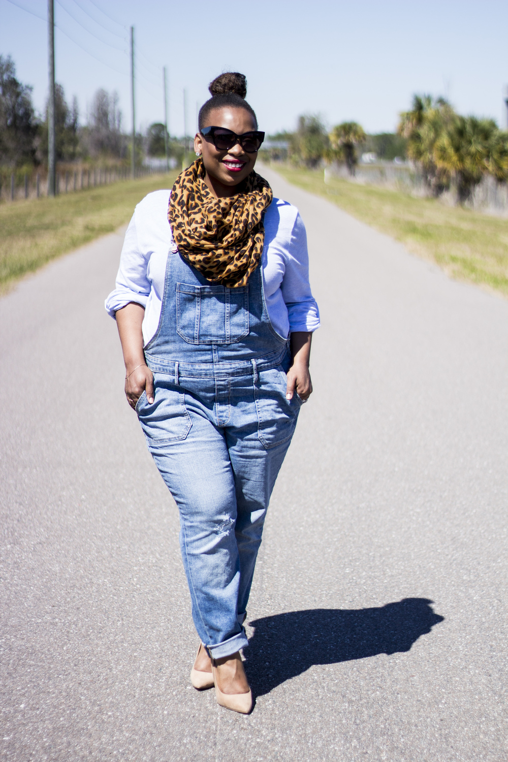 The leopard print scarf is a quirky version of the old farmer image. I added some cat eye sunglasses for extra glamour!