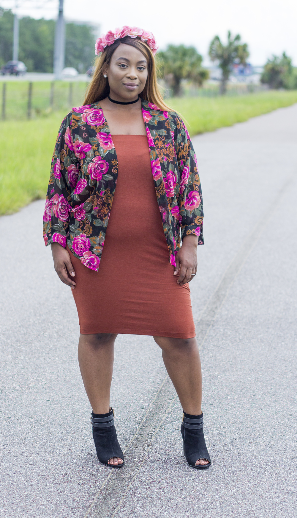 Crown: Charlotte Russe Pencil Skirt:/Choker: Forever21 Plus Floral Cardigan: Thrifted Booties: Charlotte Russe
