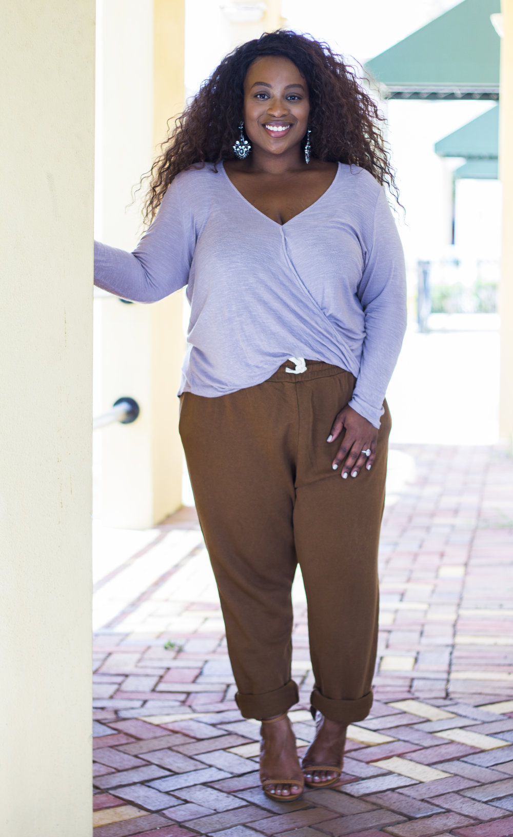 Earrings: A gft / Surplice Top: Forever21 / Joggers: Zara / Sandals: Charlotte Russe