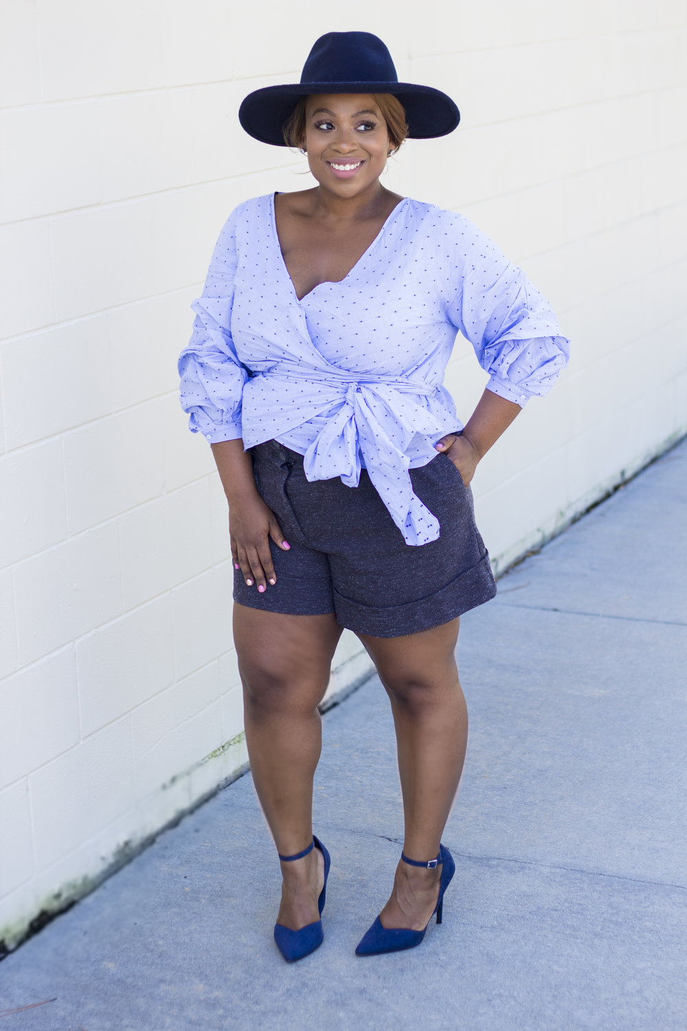 I am satisfied with how the combination turned out. The top, hat and shoes add the Fall essence to this look. Taking my shorts from summer time and marrying it with these pieces is the perfect wardrobe transition solution.