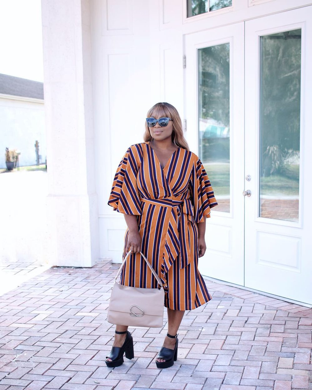 GET THIS STRIPED WRAP DRESS HERE