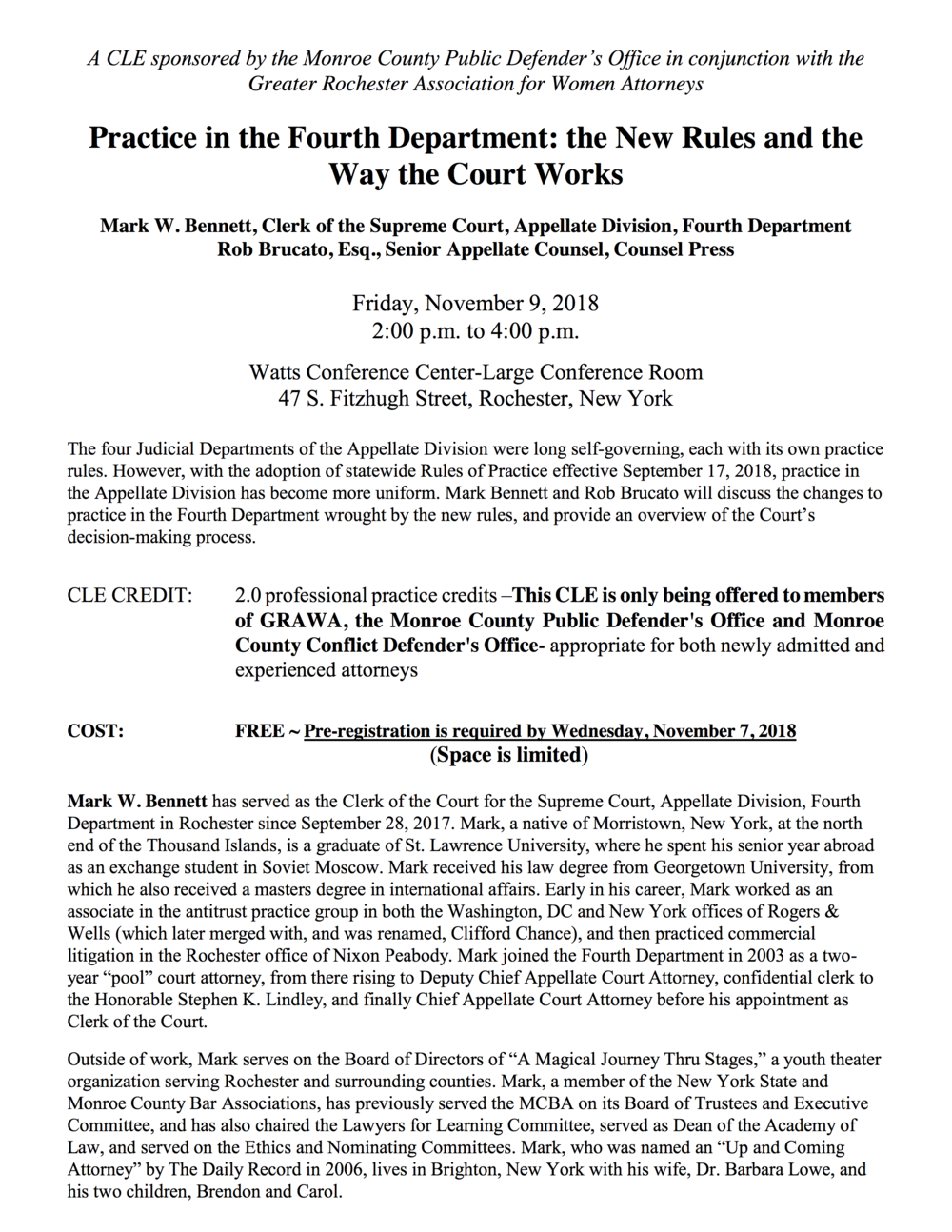 Practice in the Fourth Department-New Rules and the Way the Court Works 11.9.18 CLE Announcement (2).png