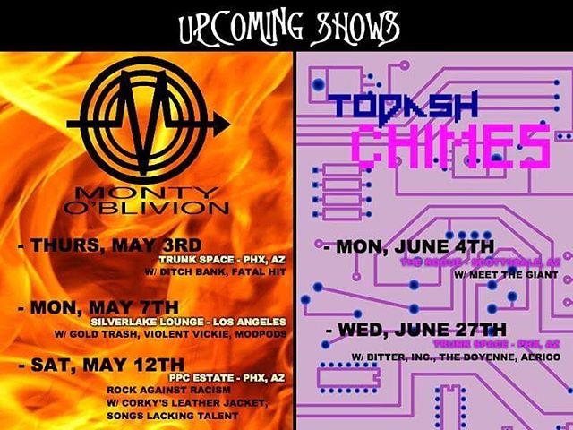 Upcoming shows! #msd #montyoblivion #todashchimes #kborrecords #postpunk #anarcho #synthpunk #newwave