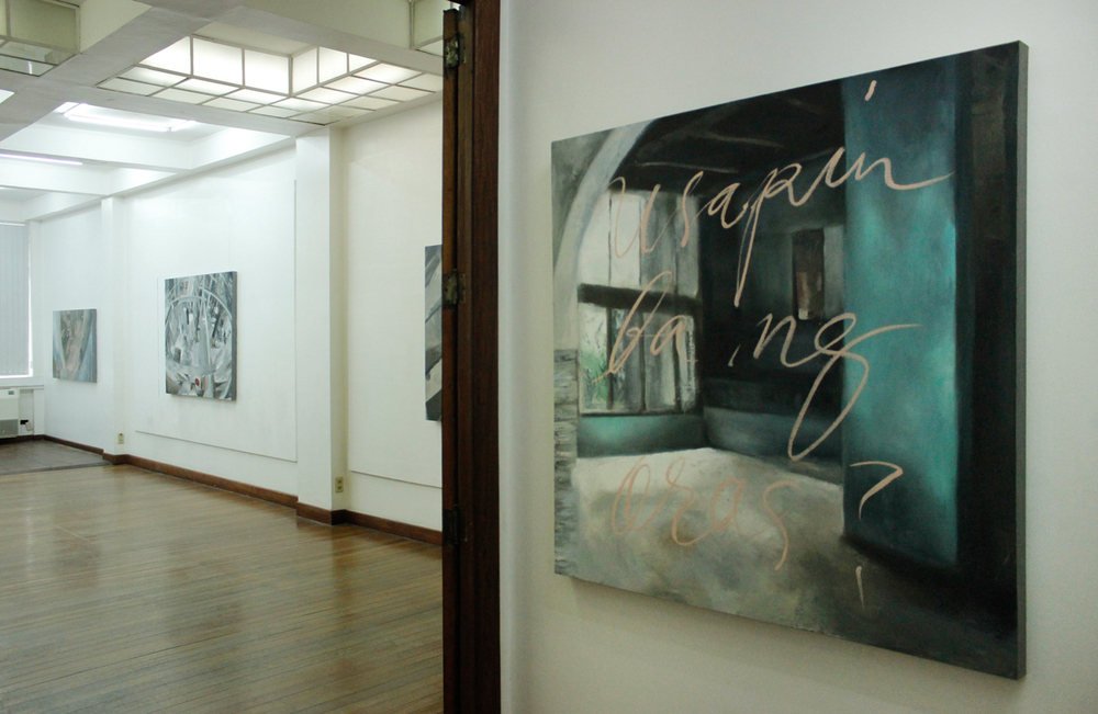 Installation view, (from left to right)  Bukas ,  Point  &  Another Day ; artworks by  Alee Garibay