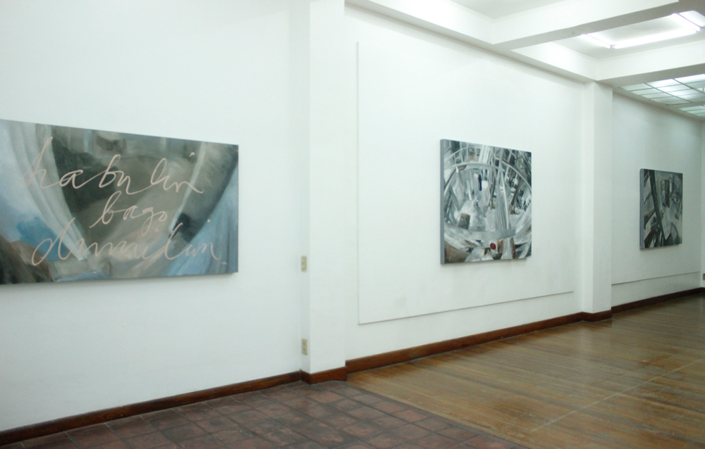 Installation view, (from left to right)  Bukas ,  Point  &  Bisita ; artworks by  Alee Garibay