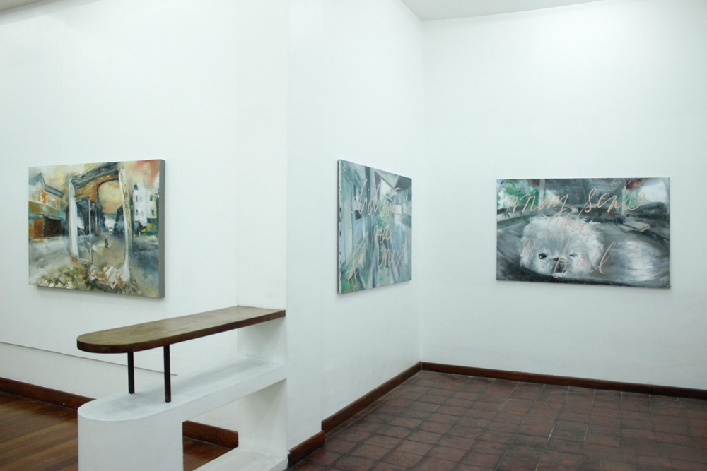 Installation view, (from left to right)  Portal  ,  Up and Down   &  Alaga ; artworks by  Alee Garibay