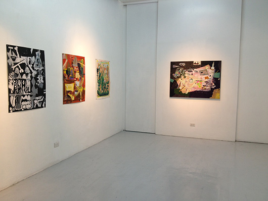 Installation view, from left to right, artworks by: Carlo Ricafort, Catalina Africa