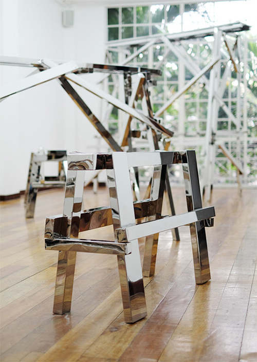 homage to homage  , 2014   stainless steel, wood, 115.8x40.5x75.5 cm   installation view: Urban Canyon, 1335MABINI, 2015