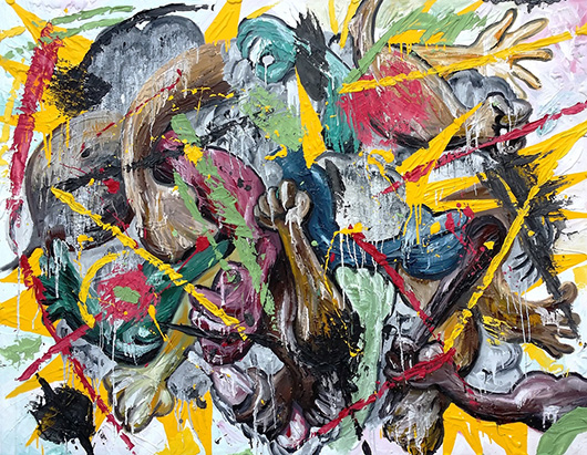 Toon Fight  , 2015   oil, enamel, plaster, glue on canvas, 122 x 152.5 cm