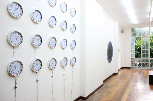 Installation view, (from left to right)  Drawing space with time ,  Lie Tiers , &  Untitled ; artworks by Ian Jaucian