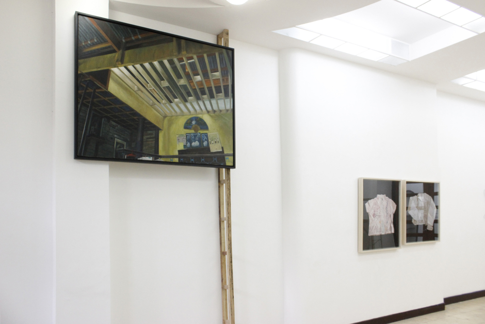 Installation view, (left to right)  Construction Always on Progress, Big Heart,  and  Flight and Plight ; artwork by Marina Cruz