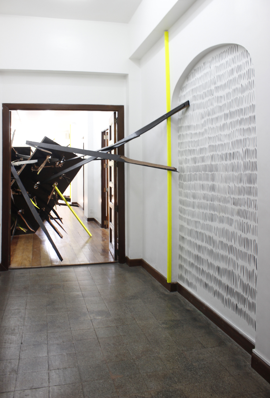Installation view,  Counting bodies like sheep to the rhythm of the war drums ; artwork by Clemens Hollerer