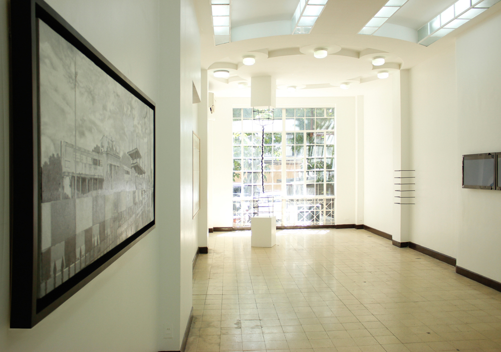 Installation view, (from left to right)  Railroad ,  Untitled (LS000) ,  Axis of Contention Seamless Incongruence  &  face value ; artworks by Jose Luis Singson