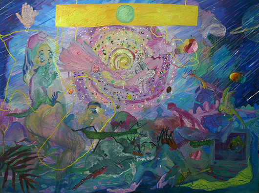 The Rainbow Magic Sparkle Fantasy Furrest , 2013 oil and glitters on canvas, 183x244 cm
