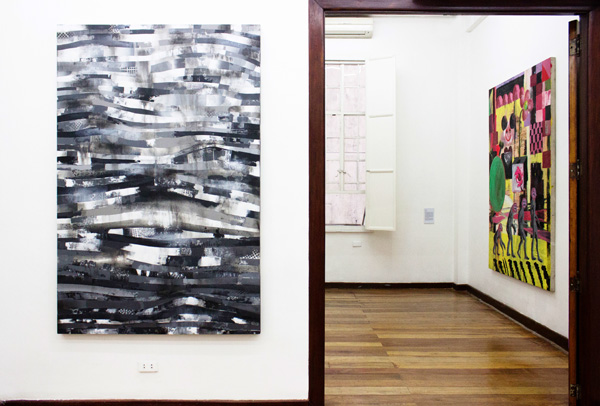 Installation view, artworks by: Benjie Cabangis(in the foreground) and David Griggs(in the background)