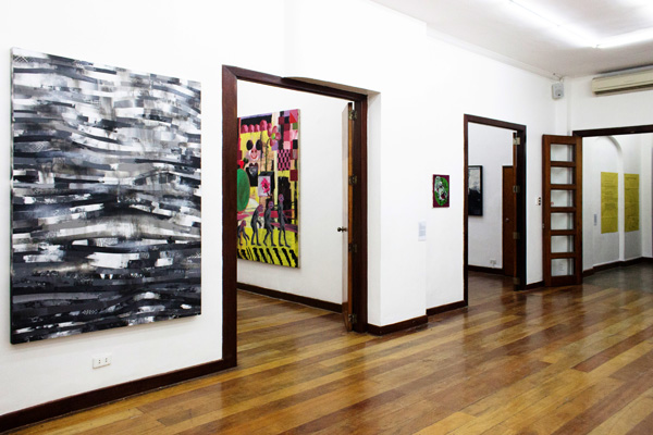 Installation view, artworks by: Benjie Cabangis, David Griggs, Jose Luis Singson and Buen Calubayan(from left to right)