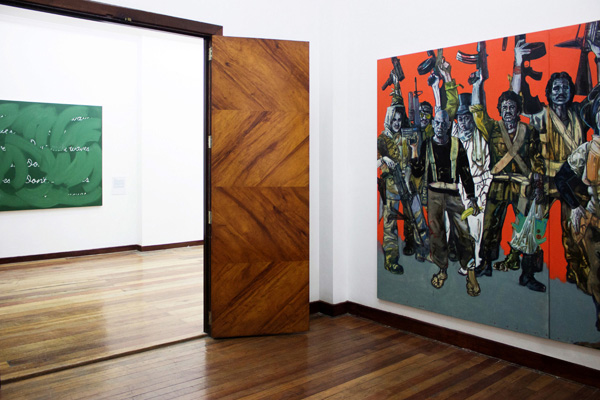 Installation view, artworks by: Cris Villanueva Jr.(left) and Jose Tence Ruiz(right)