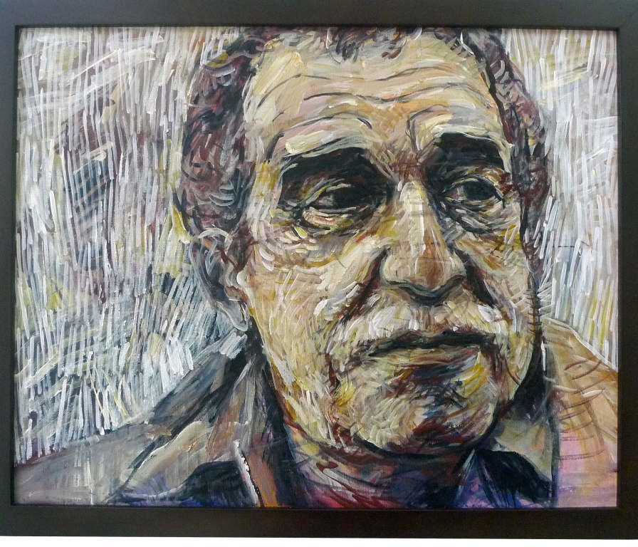 GABRIEL GARCIA MARQUEZ , 2014 Acrylic on canvas 40.5 x 51 cm