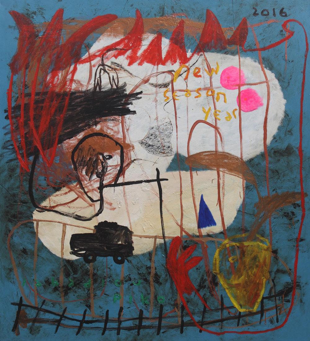 PI01714-A_Iabadiou Piko   New Season Year   2016    Acrylic  Bitumen  Oil  Alkyd on Canvas   160 x 145 cm.jpg
