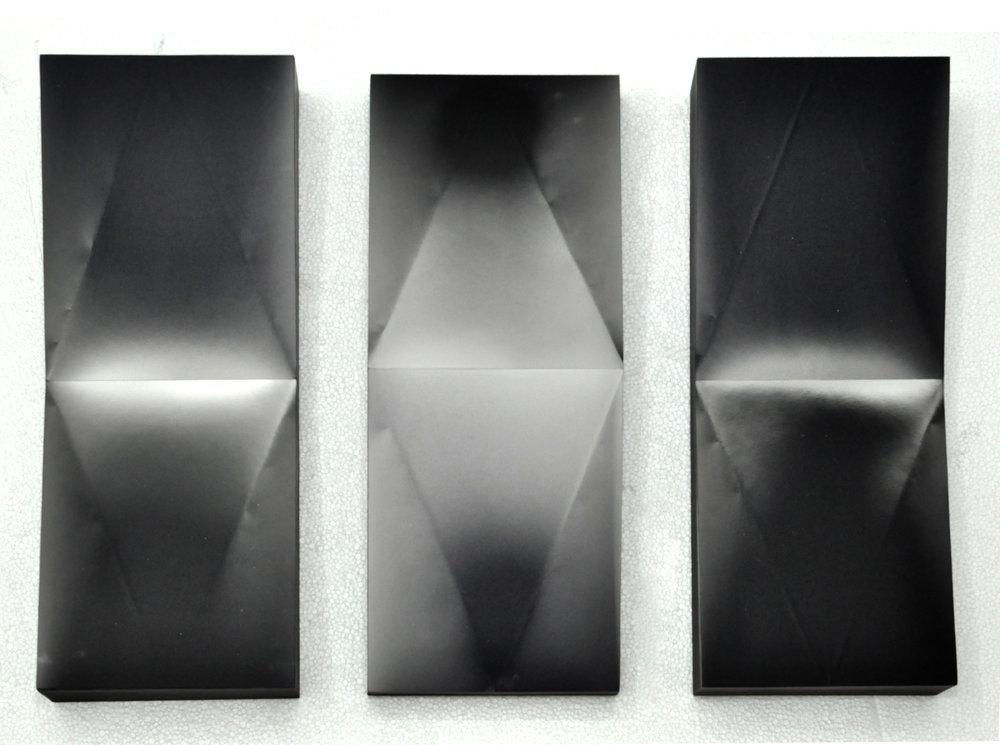 MICAELA BENEDICTO   Series 6- Luminograph on Slanted Planes (set of 6) , 2017 gelatin silver photogram mounted on wood board 20.3 x 25.4 cm