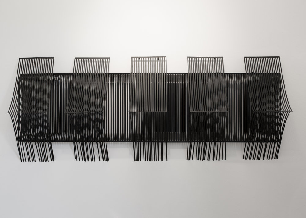 MICAELA BENEDICTO   Waveform 1 , 2015 powdercoat on lasercut iron sheet 150 cm length, (height and depth variable)