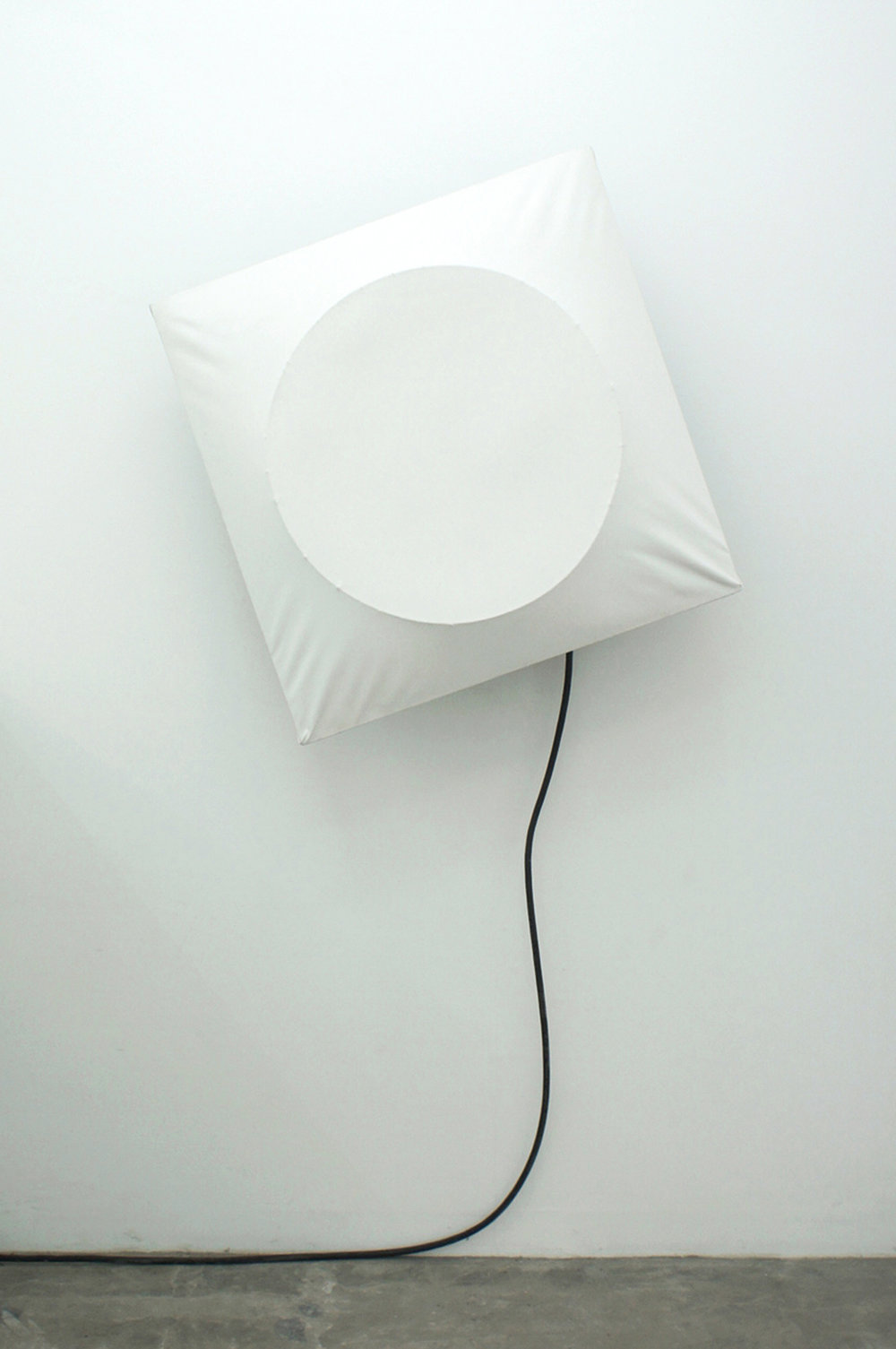 Poklong Anading  untitled, 2006/2017 canvas, exhaust fan, wood, metal 84.5 x 84.5 x 38 cm / 33.3 x 33.3 x 15 in / 2.8 x 2.8 x1.3 ft