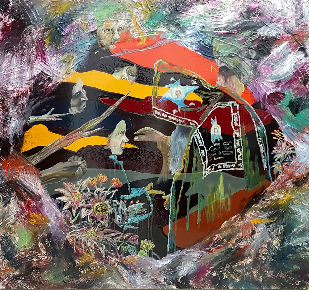 ERNEST CONCEPCION  Rites of Passage 2017 mixed media on canvas 121.92 x 121.92 cm
