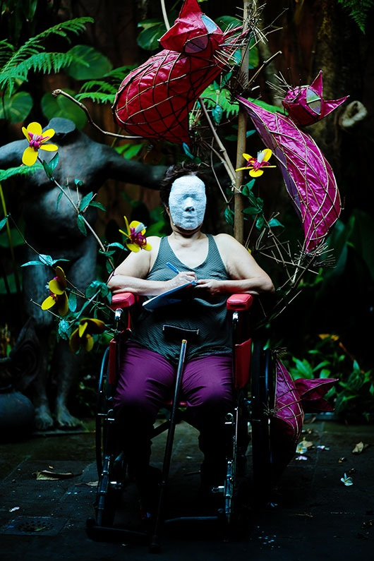 Erased Slogans Life Mask (Gilda Cordero Fernando)  , 2015   photo print, edition: 3, 173x116 cm