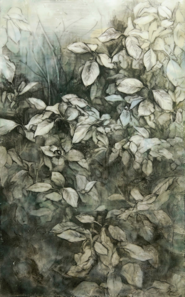 Seeking the Green Man , 2014. Encaustic and charcoal on panel. 20 x 12 inches. Private collection.