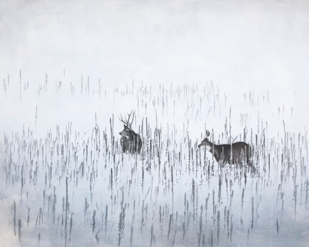 January Deer , 2014. Mixed media and charcoal on paper. 36 x 46 inches. Private collection.