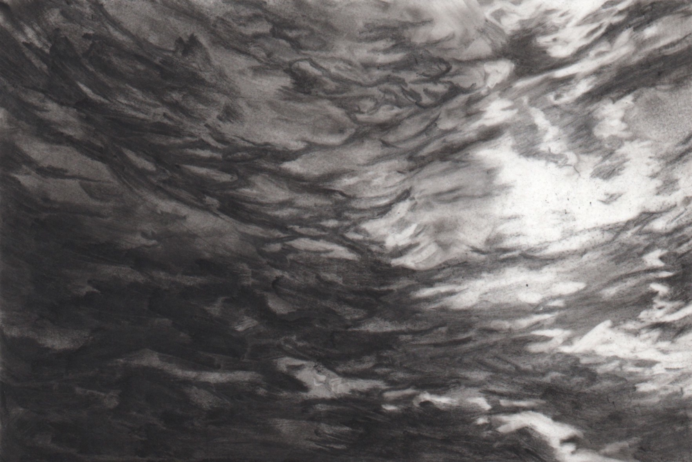 Up Above,  2013. Charcoal on mylar. 4 x 6 inches.   Available