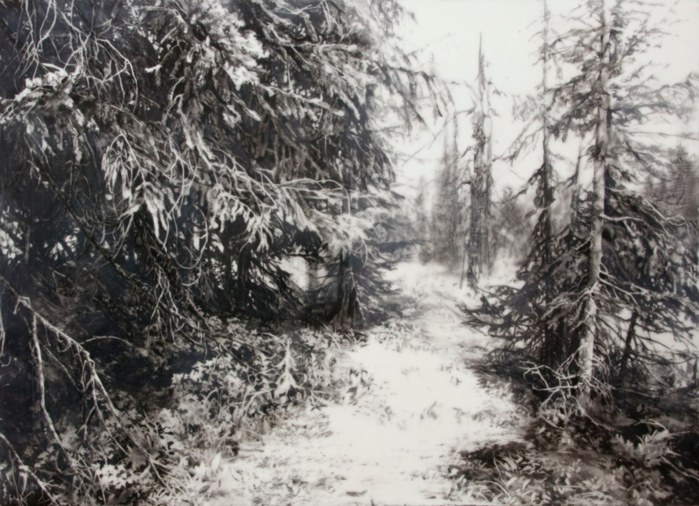 The White Path , 2013. Encaustic and charcoal on panel. 26 x 36 inches. Private collection.