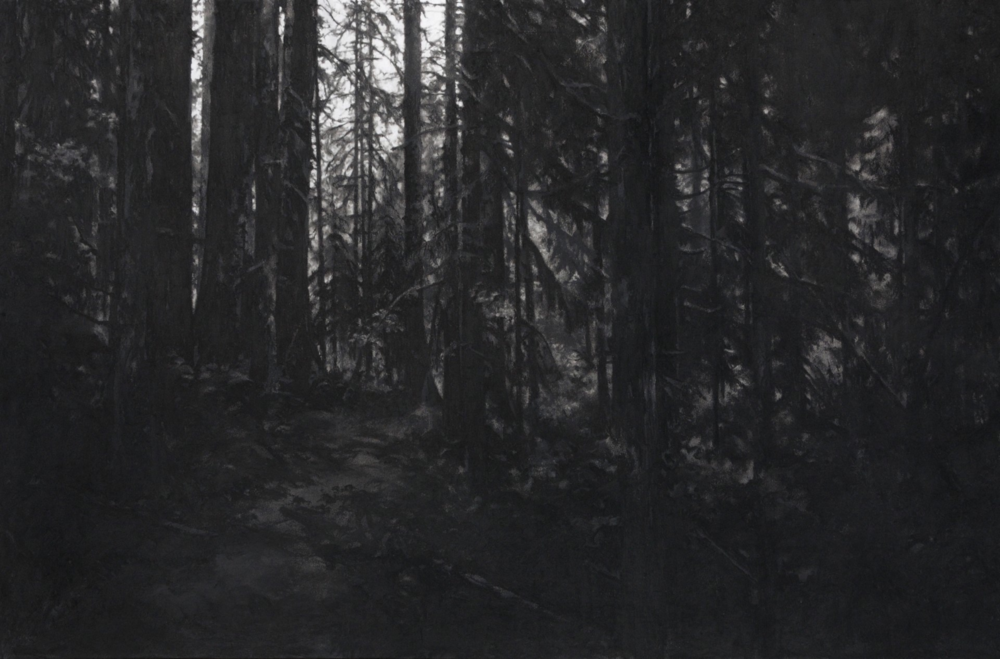 As certain dark things are loved , 2012. Charcoal on mounted paper. 32 x 48 inches. Private collection.