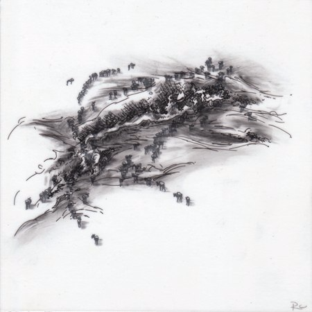 Observations IX,  2010. Ink and charcoal on mylar. 5 x 5 inches. Private collection.