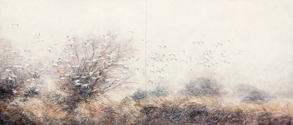 Second Sight , 2012. Egg tempera and oil on panel. 9 x 24 inches. Private collection.