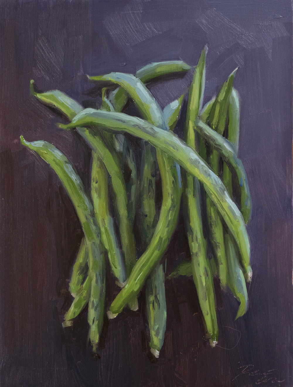 Greenbeans . 8 x 6 inches. oil on panel.  $250