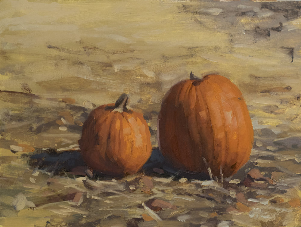 Pumpkin Pair . 6 x 8 inches. oil on panel.  $250