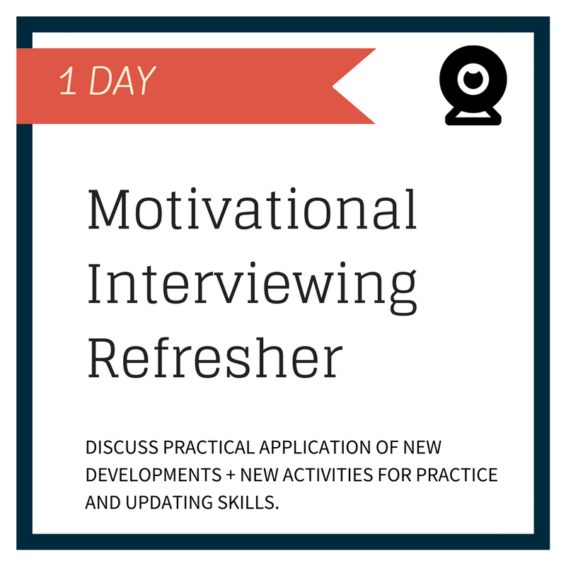 The training will update your skills to reflect what is current in Motivational Interviewing. This includes the latest updates in curriculum to introductory and advanced MI training series and will reflect what is current in MI, including: the Motivational Interviewing Competency Assessment (MICA), how the MICA ties coding and coaching together, and brief exposure to coding using this new tool. The training will also explore what motivates practitioners to become proficient at MI and how trainers foster that process.  You can register and attend through live streaming video that will run 9:00am - 4:30pm Pacific Time.