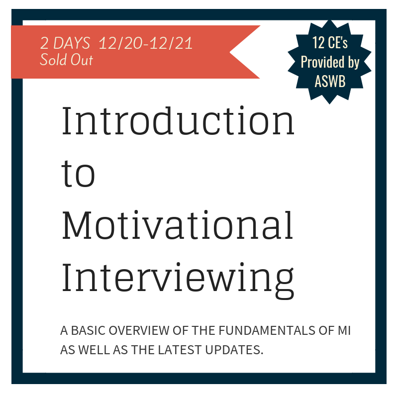 This two-day training on Motivational Interviewing will provide a basic overview of the fundamentals of MI as well as the latest updates.  Based on the physics of behavior change, participants will learn assessment and communication skills that foster sustained behavior change by tapping intrinsic motivation.  Aside from a didactic approach, there will be video examples, audience participation, and skill practice.