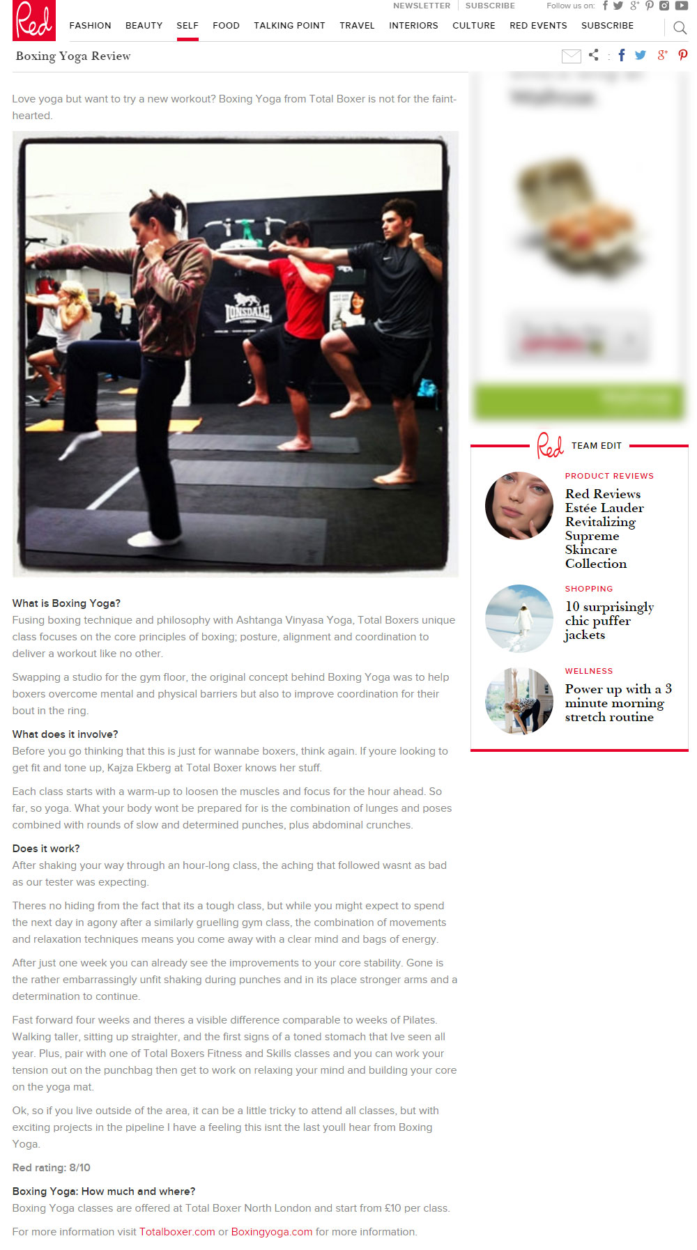 Red Magazine try BoxingYoga