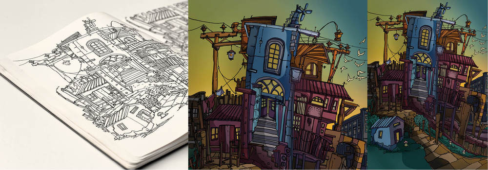 The crooked house - sketch book drawing plus extracts from image