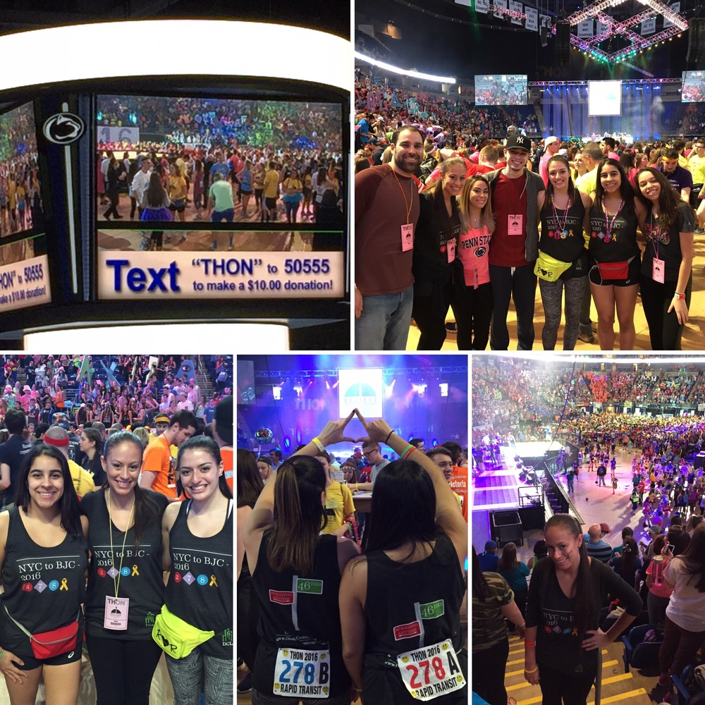 Photos from THON 2016. Lower left photo from left to right Ashley Pimentel, Jennifer Lisojo and Sabrina Feinman.