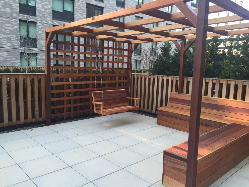Mahogany Pergola, Bench and Lattice.