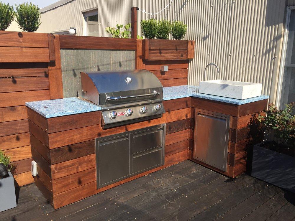 Custom Green Egg Smoker Enclosure Ipe Outdoor Kitchen With Built In Smoker  Outdoor Kitchen