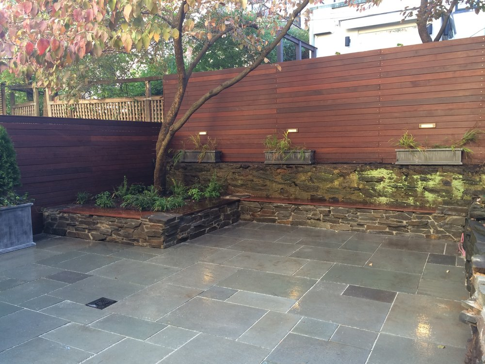 Bluestone Patio W/ Custom Stone Benches